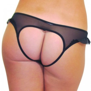 Baci open back thong one size black