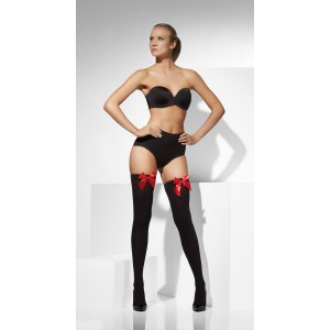 Black Opaque Hold-ups with red bows