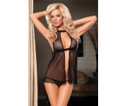 ⭐ Open-front net Babydoll with lace & thong